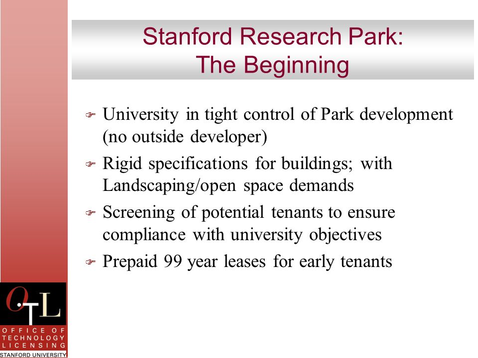 Stanford Research Park: The Beginning