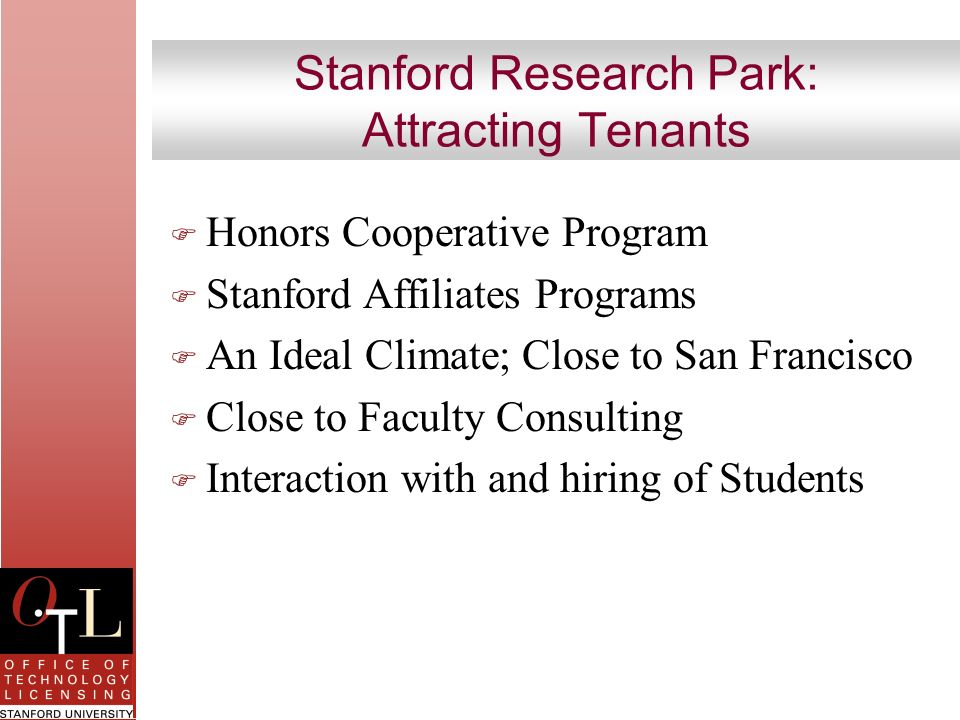 Stanford Research Park: Attracting Tenants