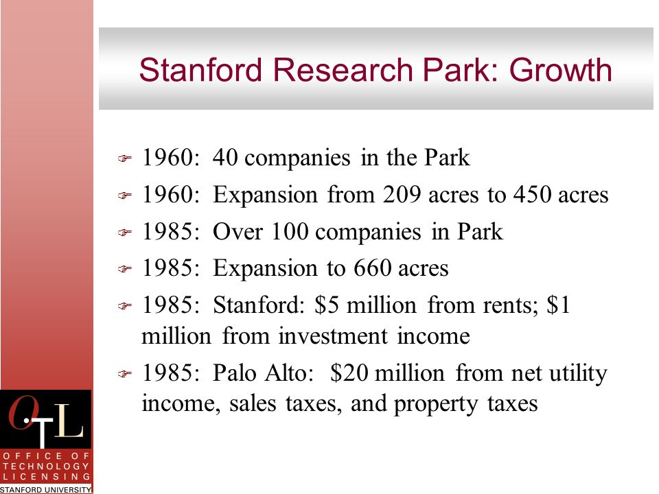 Stanford Research Park: Growth