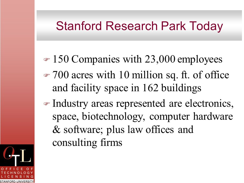 Stanford Research Park Today