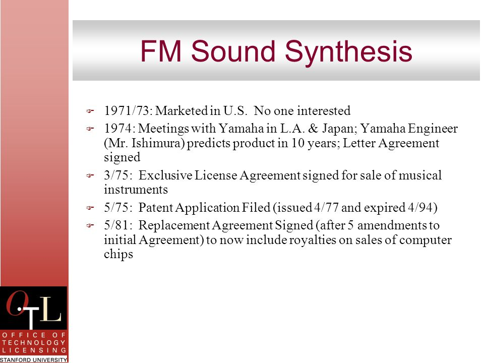 FM Sound Synthesis 1971/73: Marketed in U.S. No one interested