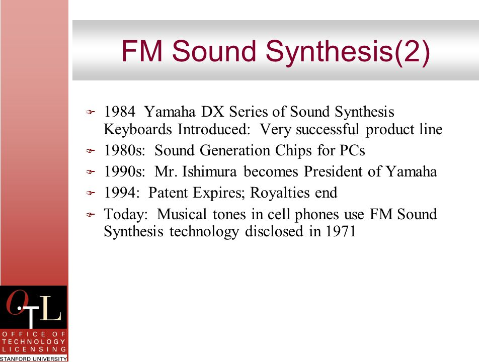 FM Sound Synthesis(2) 1984 Yamaha DX Series of Sound Synthesis Keyboards Introduced: Very successful product line.