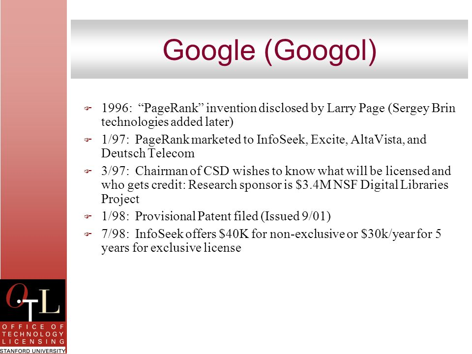 Google (Googol) 1996: PageRank invention disclosed by Larry Page (Sergey Brin technologies added later)