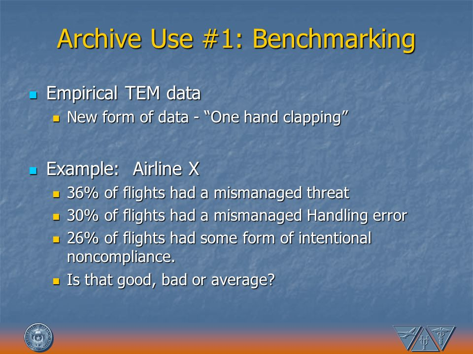Archive Use #1: Benchmarking