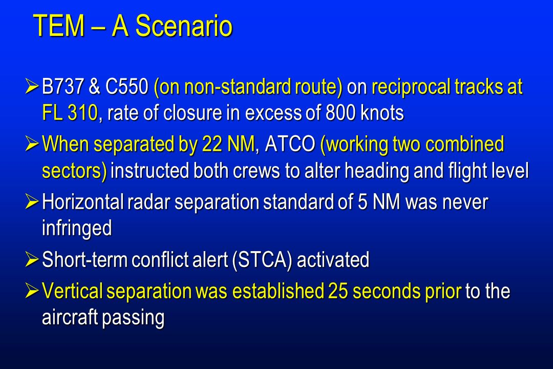 TEM – A Scenario B737 & C550 (on non-standard route) on reciprocal tracks at FL 310, rate of closure in excess of 800 knots.