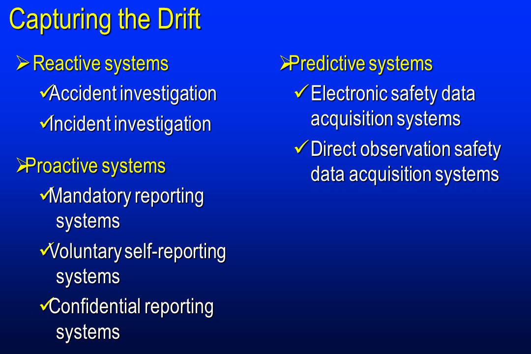 Capturing the Drift Reactive systems Accident investigation