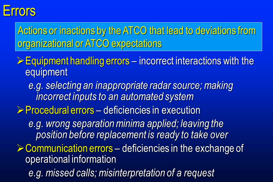 Errors Actions or inactions by the ATCO that lead to deviations from