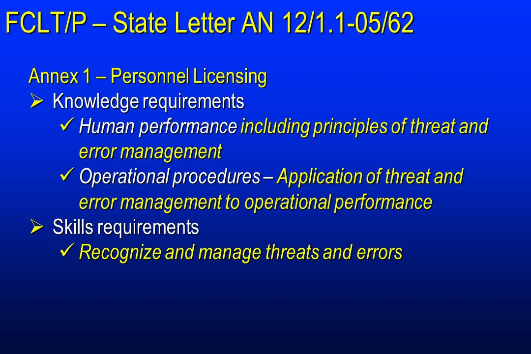 FCLT/P – State Letter AN 12/1.1-05/62