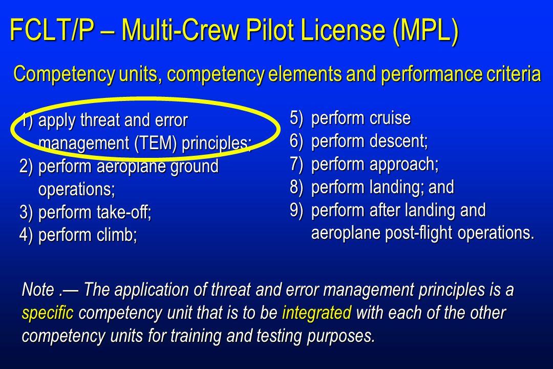 FCLT/P – Multi-Crew Pilot License (MPL)