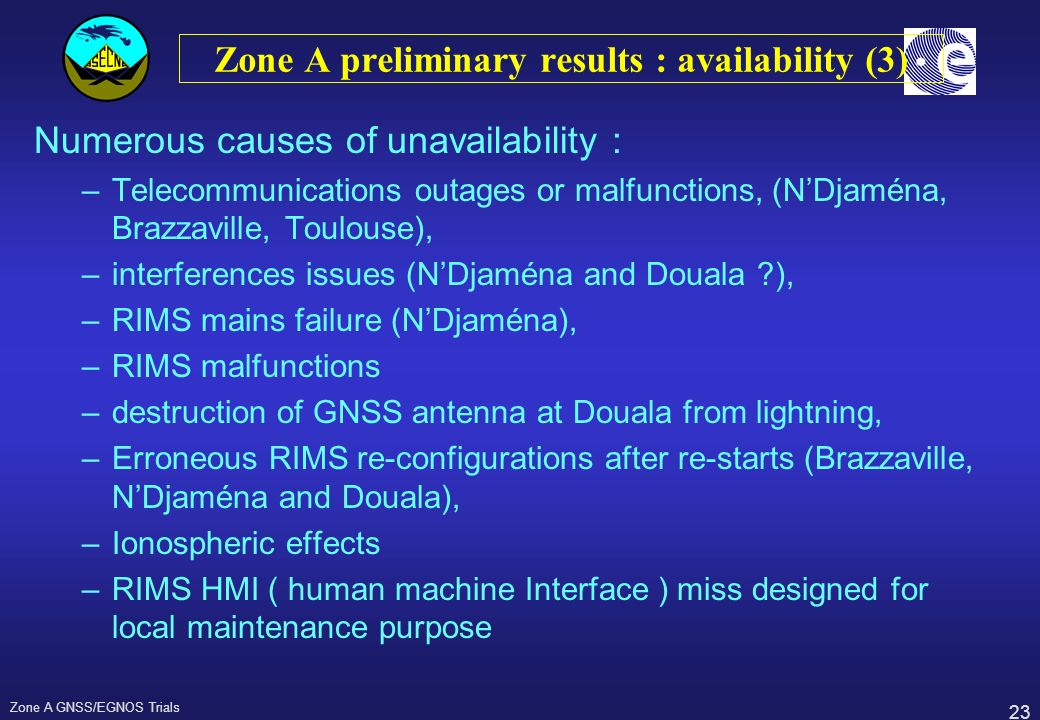 Zone A preliminary results : availability (3)