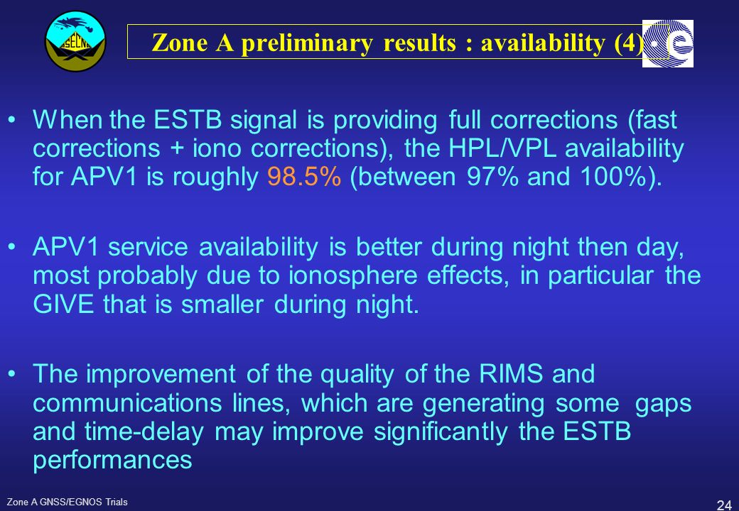 Zone A preliminary results : availability (4)