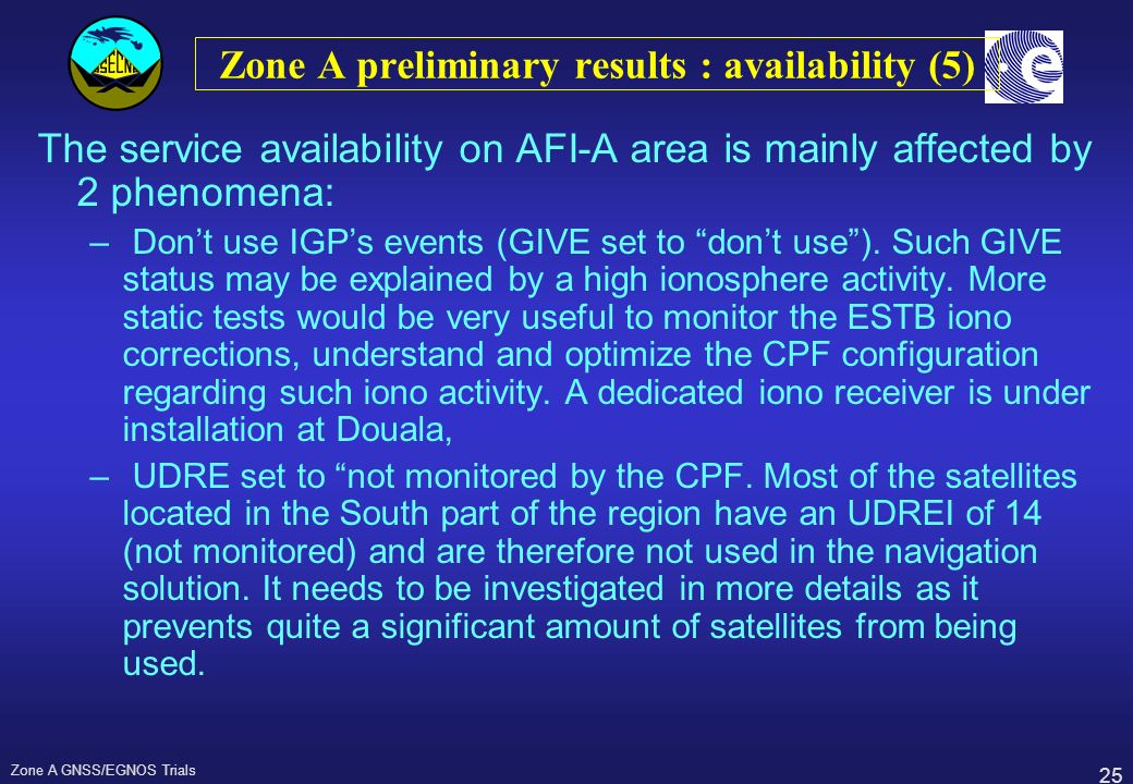 Zone A preliminary results : availability (5)