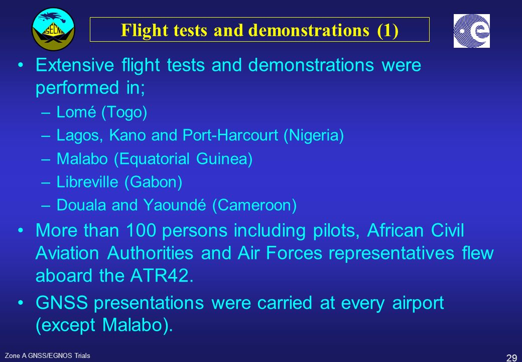 Flight tests and demonstrations (1)