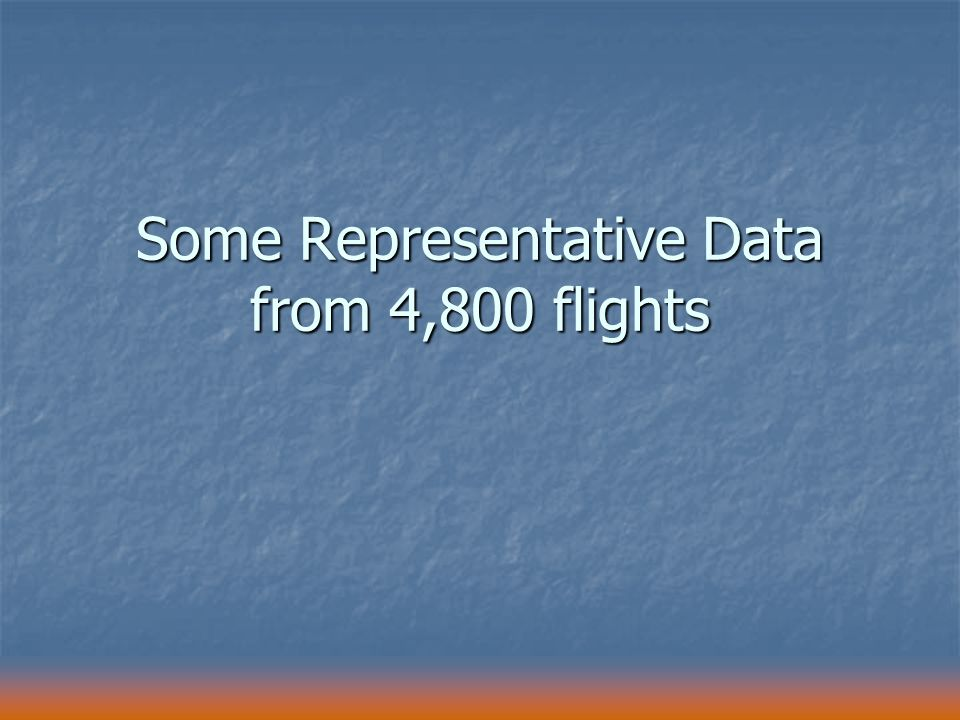 Some Representative Data from 4,800 flights