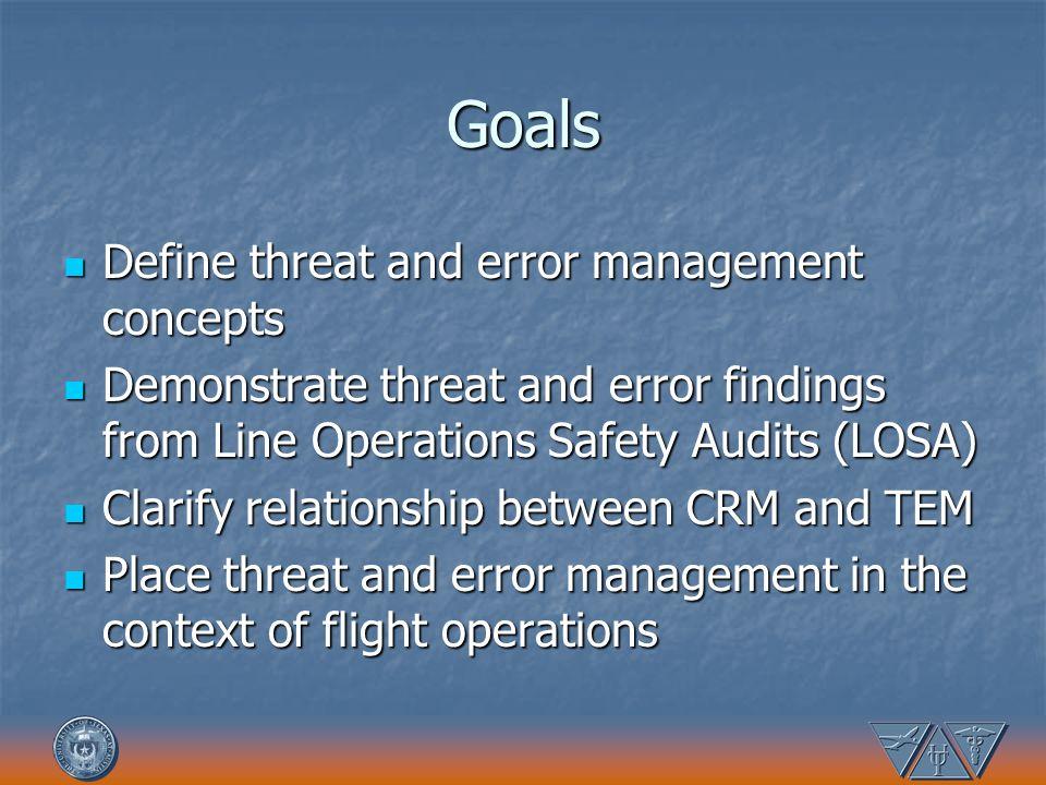 Goals Define threat and error management concepts