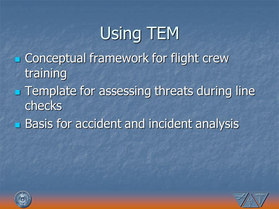 Using TEM Conceptual framework for flight crew training