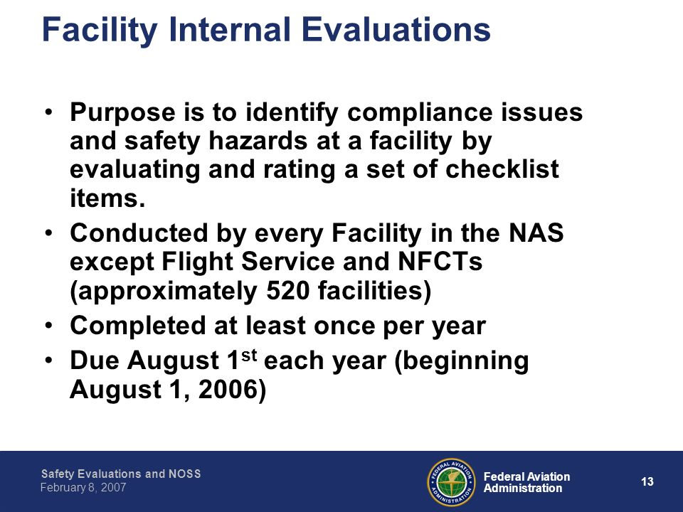 Facility Internal Evaluations