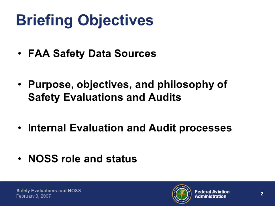 Briefing Objectives FAA Safety Data Sources