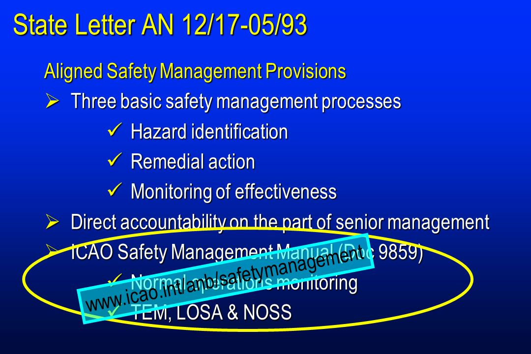 State Letter AN 12/17-05/93 Aligned Safety Management Provisions