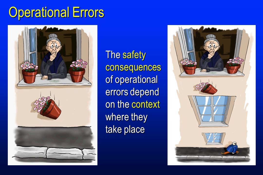 Operational Errors The safety consequences of operational errors depend on the context where they take place.