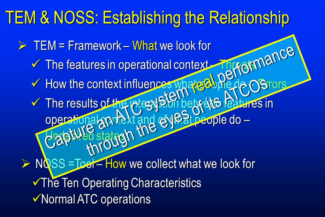 TEM & NOSS: Establishing the Relationship