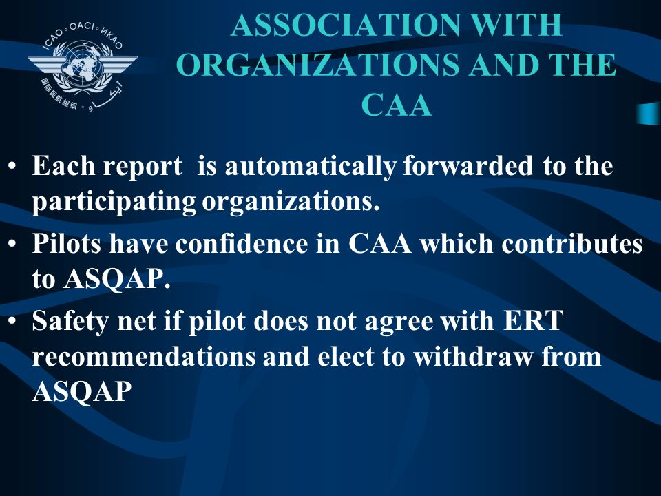 ASSOCIATION WITH ORGANIZATIONS AND THE CAA