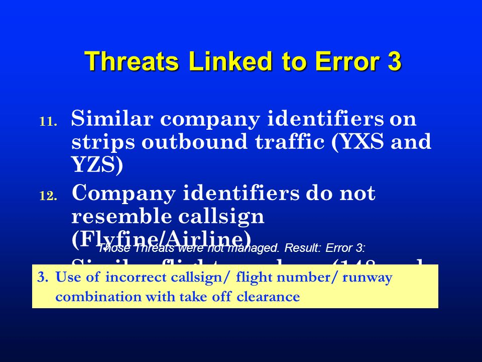 Threats Linked to Error 3