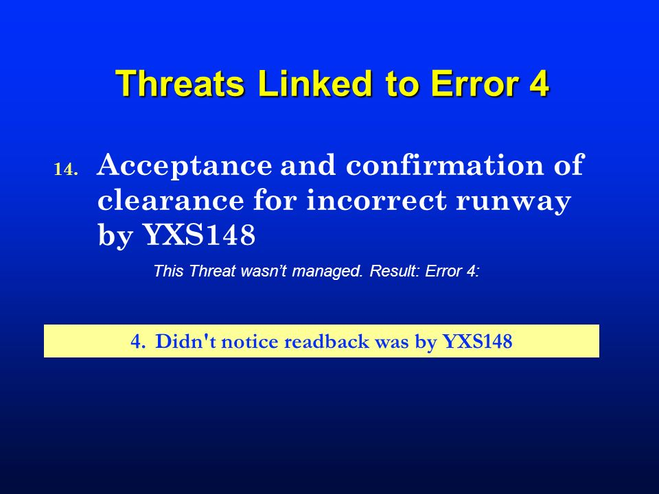 Threats Linked to Error 4