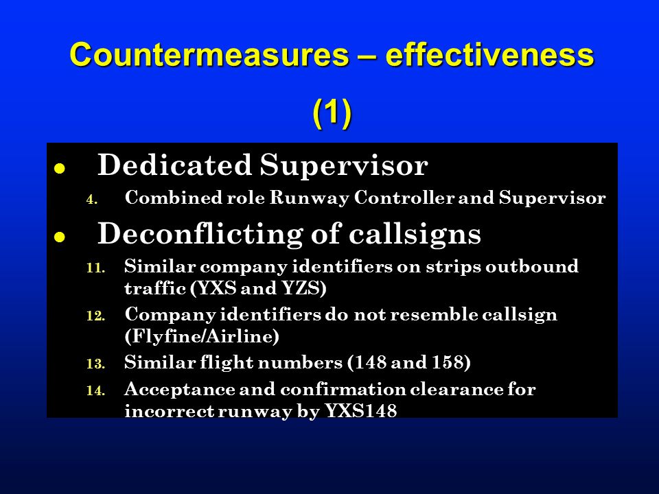 Countermeasures – effectiveness (1)