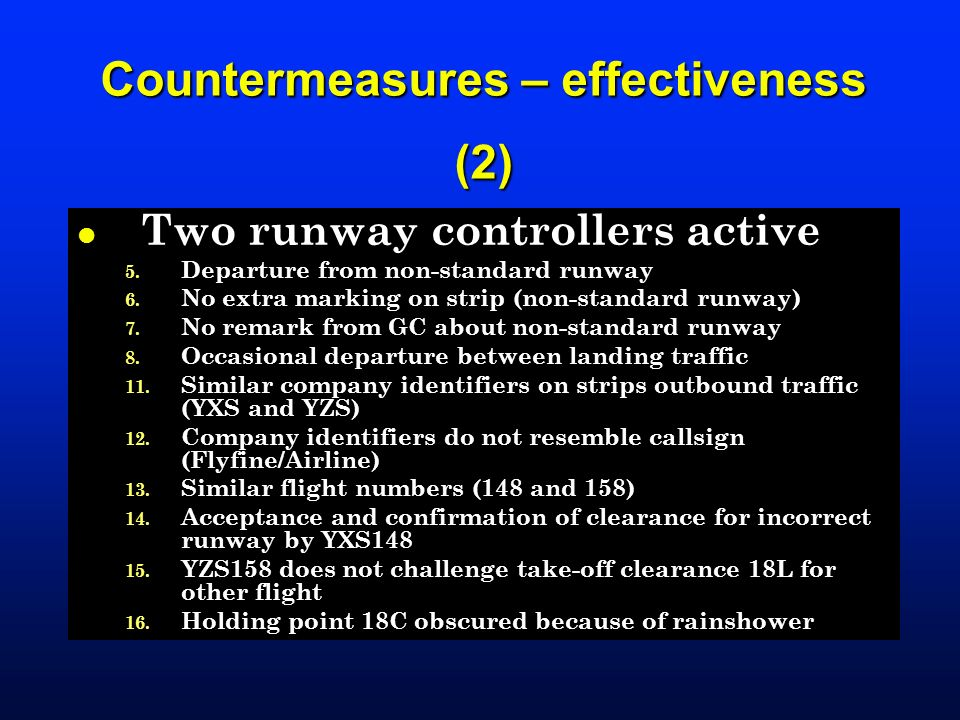 Countermeasures – effectiveness (2)