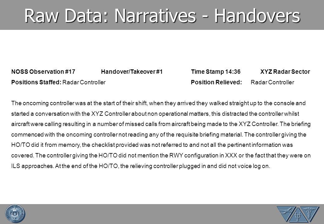 Raw Data: Narratives - Handovers