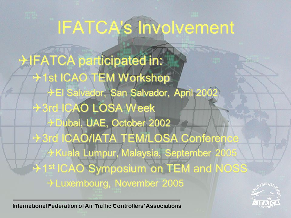 IFATCA s Involvement IFATCA participated in: 1st ICAO TEM Workshop