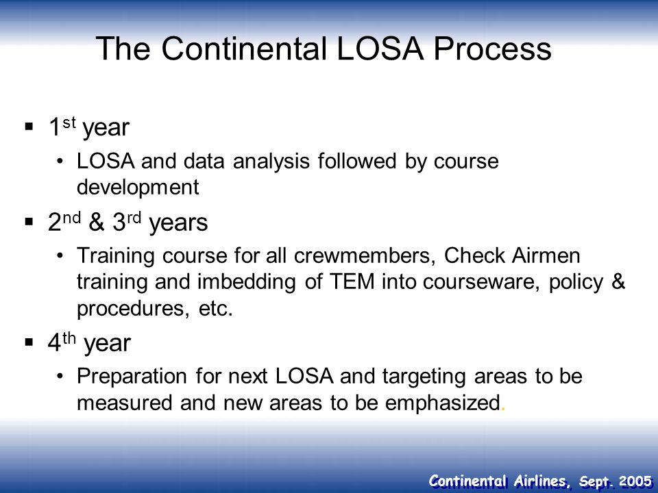 The Continental LOSA Process