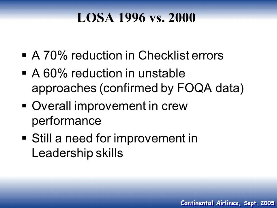 LOSA 1996 vs A 70% reduction in Checklist errors