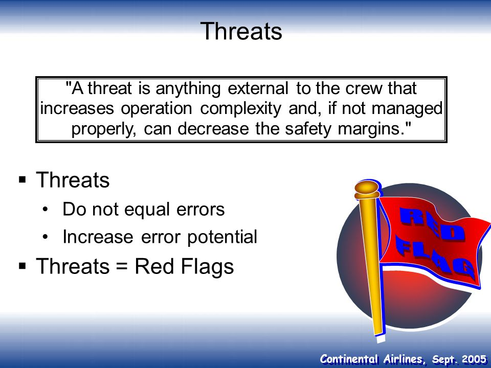 Threats Threats Threats = Red Flags Do not equal errors