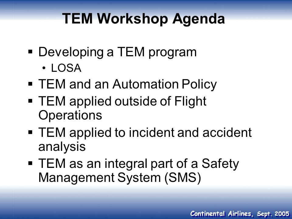 TEM Workshop Agenda Developing a TEM program