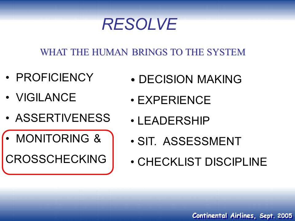 RESOLVE PROFICIENCY VIGILANCE EXPERIENCE ASSERTIVENESS LEADERSHIP