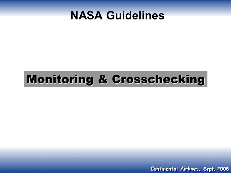 Monitoring & Crosschecking