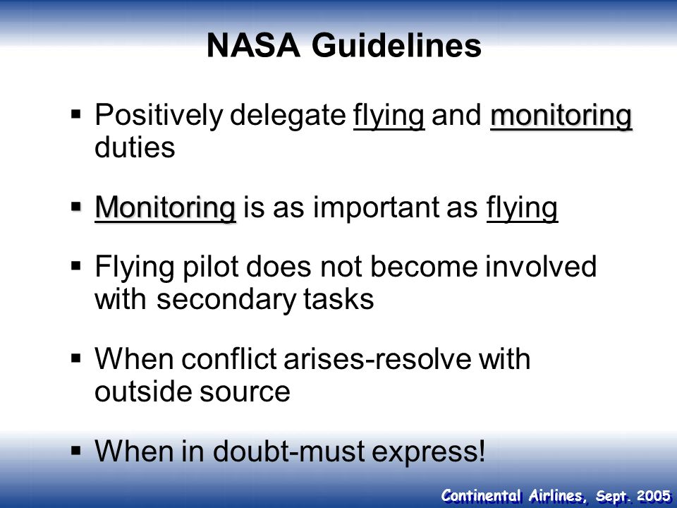 NASA Guidelines Positively delegate flying and monitoring duties