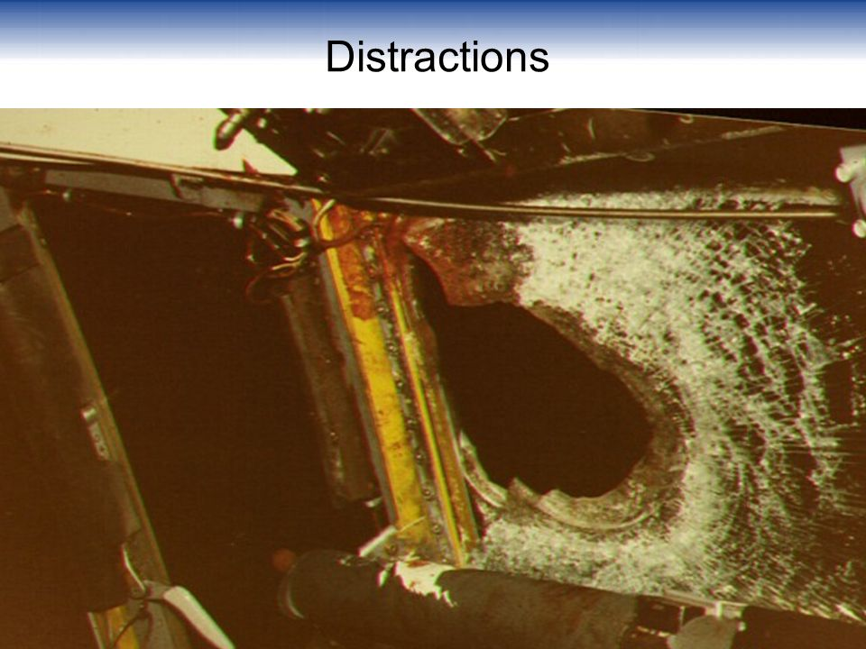 Distractions Explain to the class that after takeoff a duck impacted the windshield and entered the cockpit killing the captain.