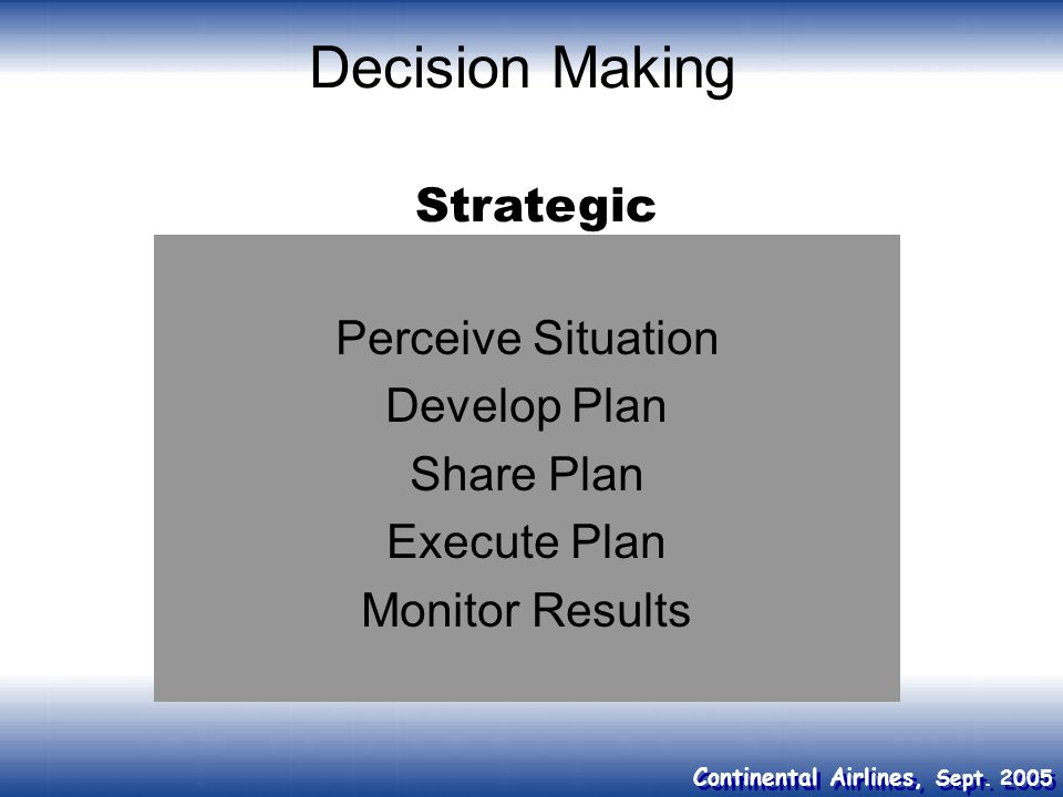 Decision Making Strategic Perceive Situation Develop Plan Share Plan
