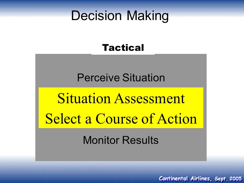 Select a Course of Action