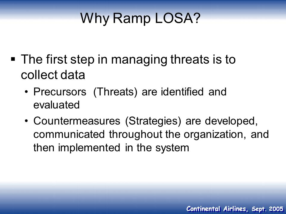 Why Ramp LOSA The first step in managing threats is to collect data