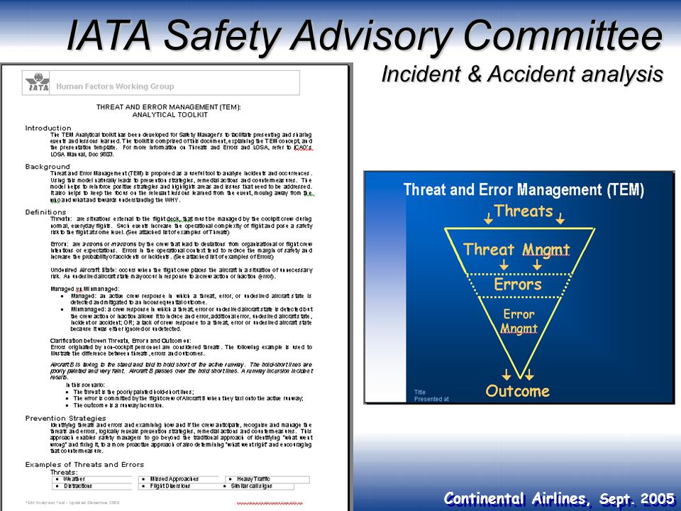 IATA Safety Advisory Committee Incident & Accident analysis