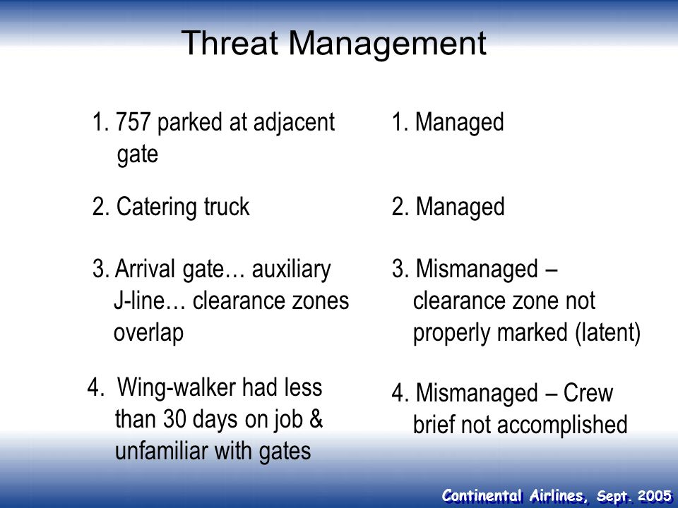 Threat Management 1. 757 parked at adjacent gate 1. Managed