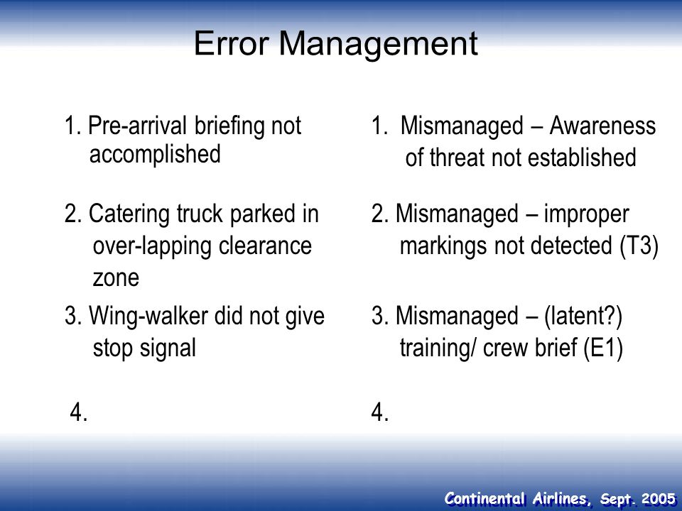 Error Management 1. Pre-arrival briefing not accomplished