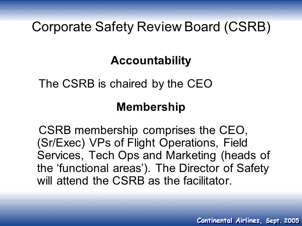 Corporate Safety Review Board (CSRB)