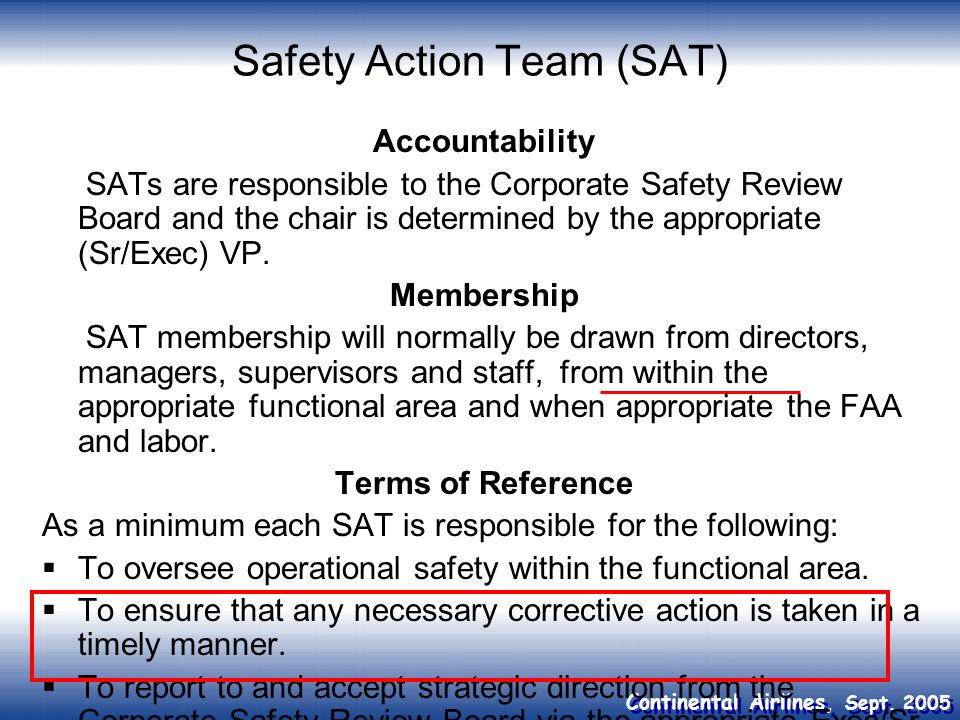 Safety Action Team (SAT)