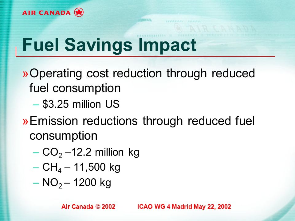 Fuel Savings Impact Operating cost reduction through reduced fuel consumption. $3.25 million US.