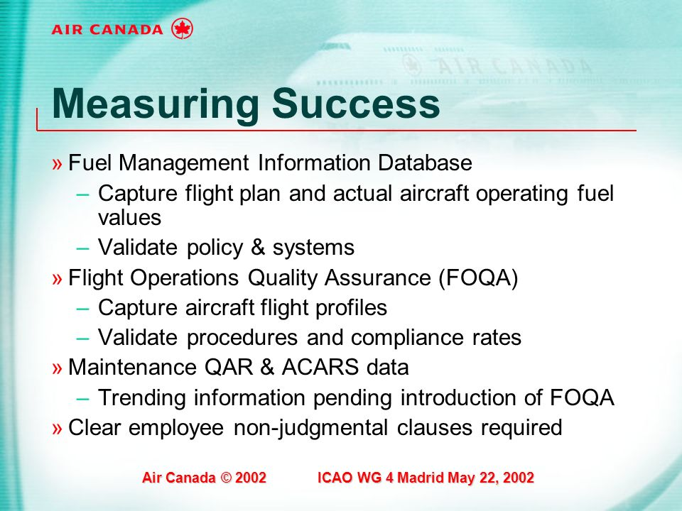 Measuring Success Fuel Management Information Database
